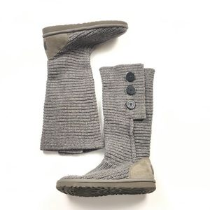 UGG Cardy Grey Knit Fold Over Sweater Tall Boot